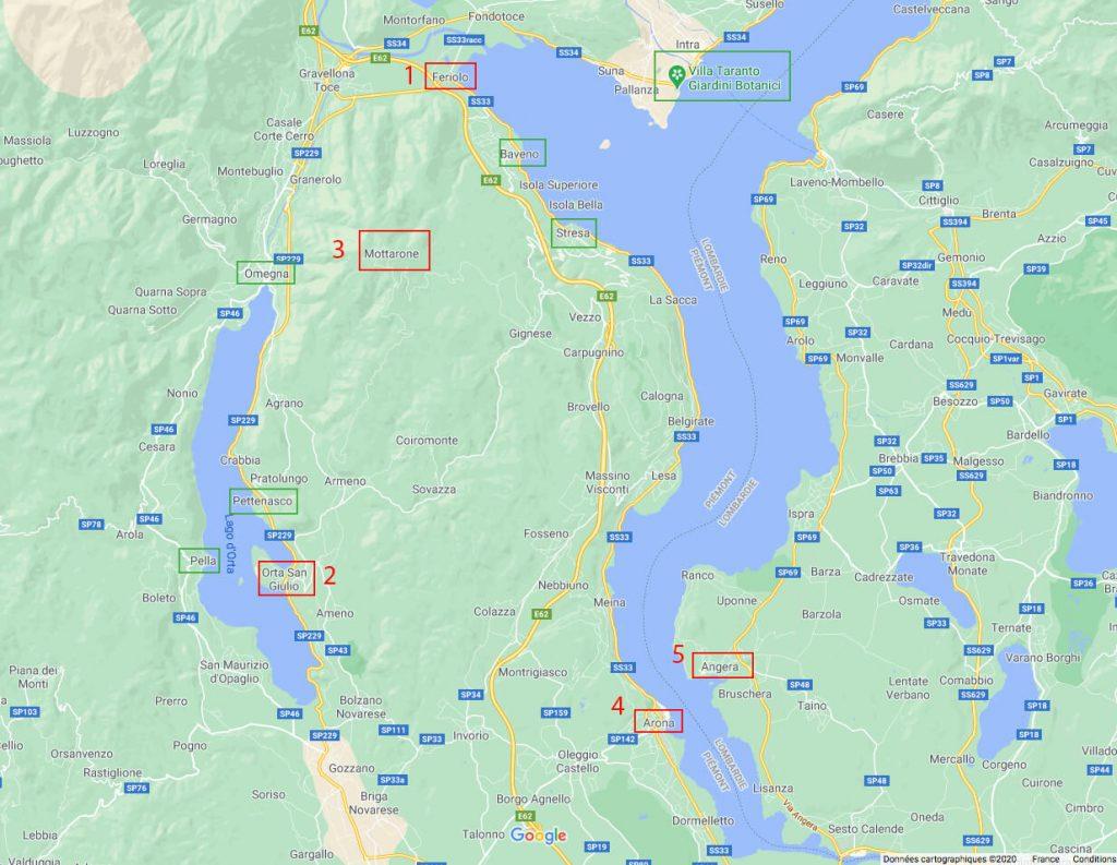 Carte Road Trip d'1 semaine au Lac Majeur
