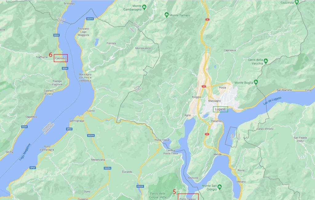 Carte etape Road Trip d'1 semaine au Lac Majeur